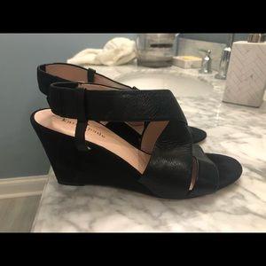 Kate Spade black leather wedge sandals